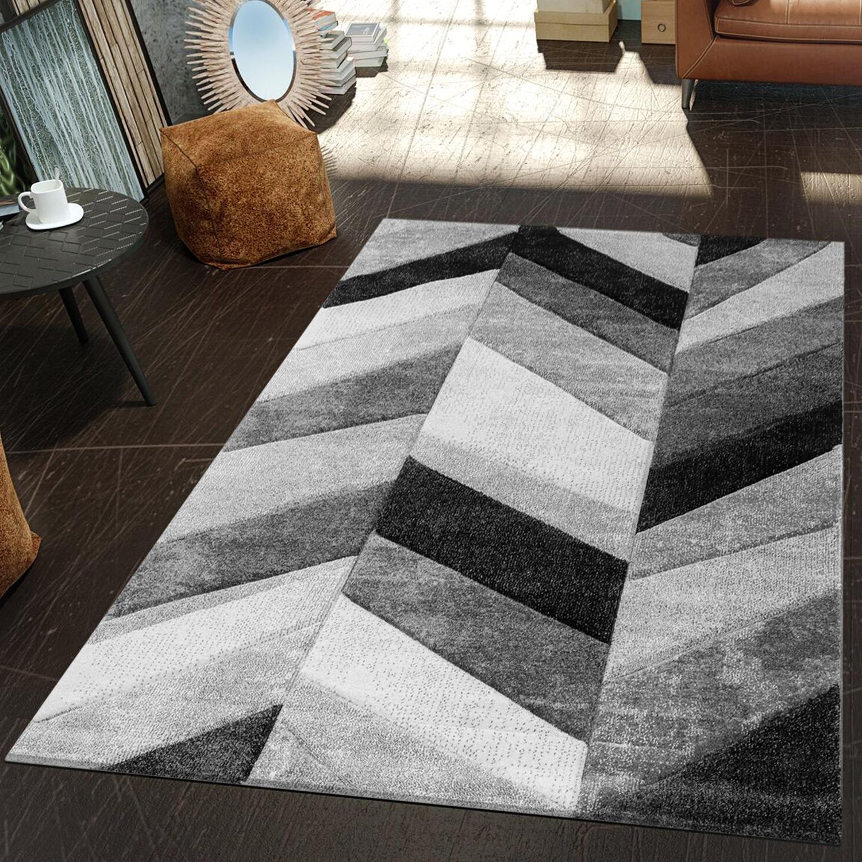 moderner teppich wohnzimmer geometrische muster konturenschnitt in grau schwarz moderne teppiche. Black Bedroom Furniture Sets. Home Design Ideas