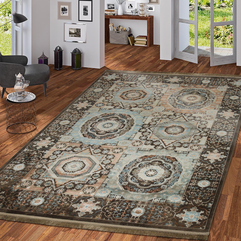 Zartes Beige Mit Holzmöbeln: Teppich Orientalisch Hochwertiger Flachflor Antik Optik In