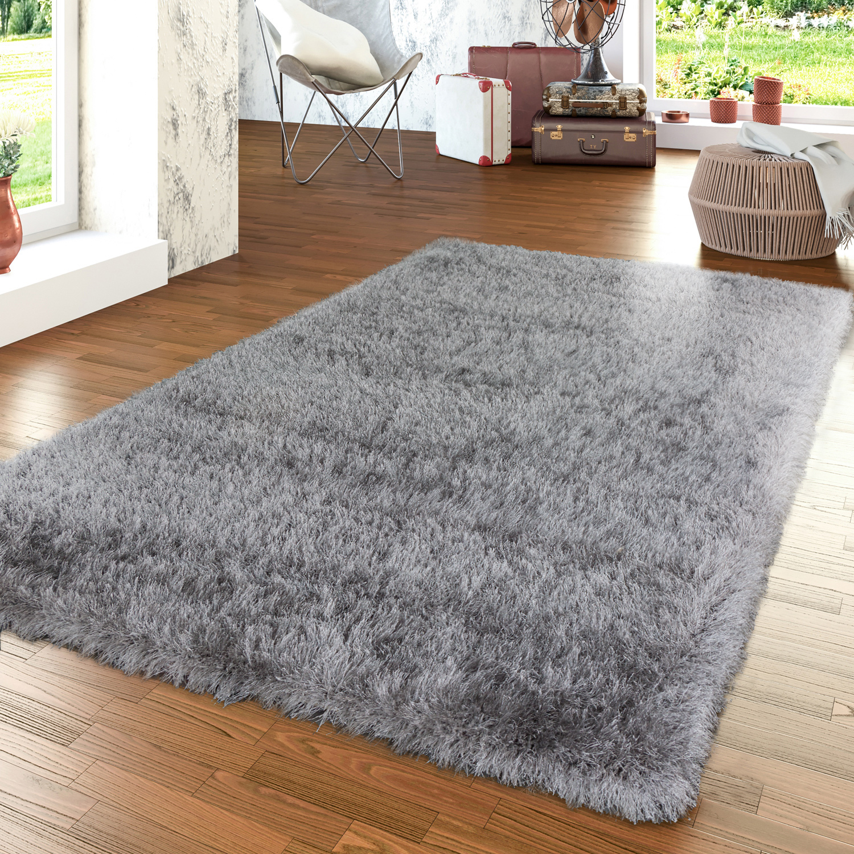 moderner wohnzimmer hochflor teppich shaggy einfarbig mit glitzergarn in grau hochflor teppich. Black Bedroom Furniture Sets. Home Design Ideas