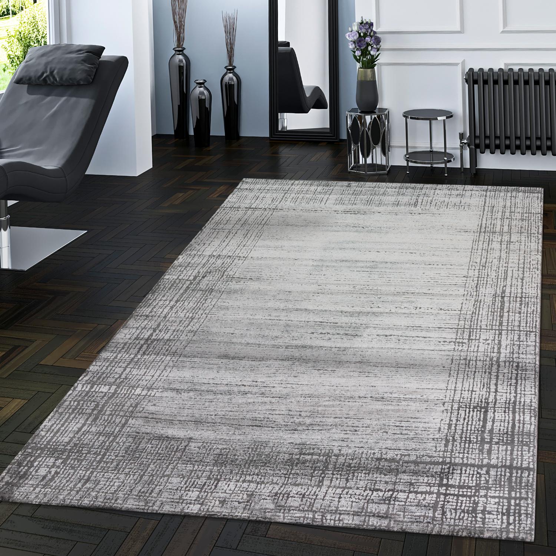 edler wohnzimmer teppich mit 3d struktur moderner used look in grau moderne teppiche. Black Bedroom Furniture Sets. Home Design Ideas