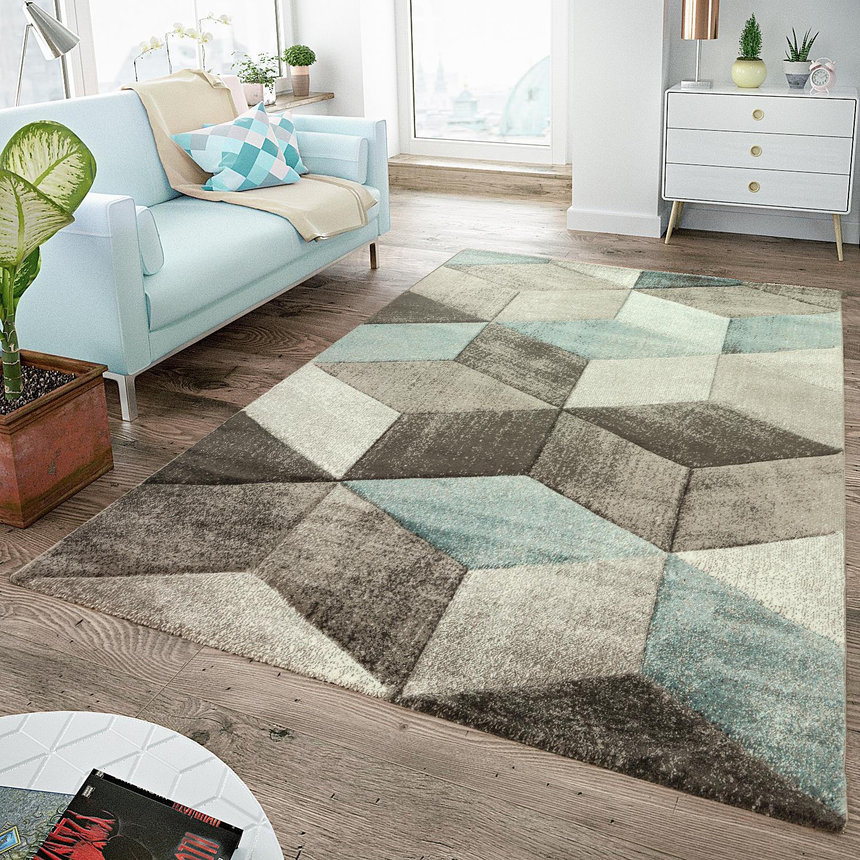 Moderner Teppich Konturenschnitt Grafisches Design Pastell Braun ...