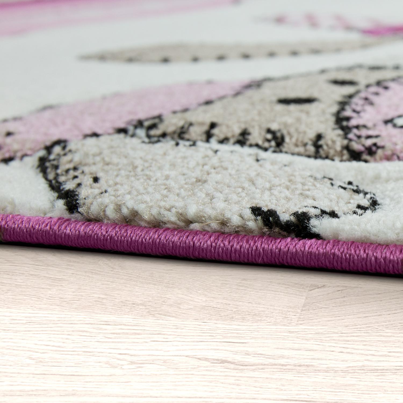 Kinder teppich moderner spielteppich bauernhof tiere pastell t ne in rosa creme kinderteppich - Teppich jungenzimmer ...