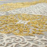 Orientteppich Moderner Barock Muster Mit 3D Optik Used Look Meliert In Gold Grau – Bild 2