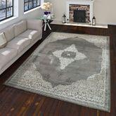 Orientteppich Moderner Barock Muster Mit 3D Optik Used Look Meliert In Grau Weiß – Bild 1