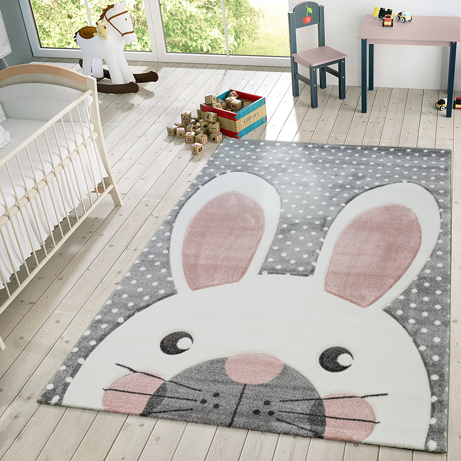 kinder teppich moderner spielteppich hase pastell t ne in beige grau rosa kinderteppich. Black Bedroom Furniture Sets. Home Design Ideas