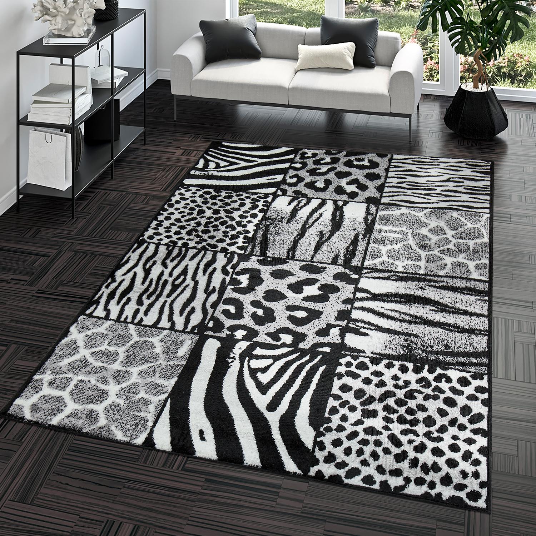 Moderner Wohnzimmer Teppich Animal Patchwork Design Grau
