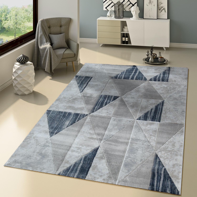 Teppich Modern Skandinavisch Creme Blau