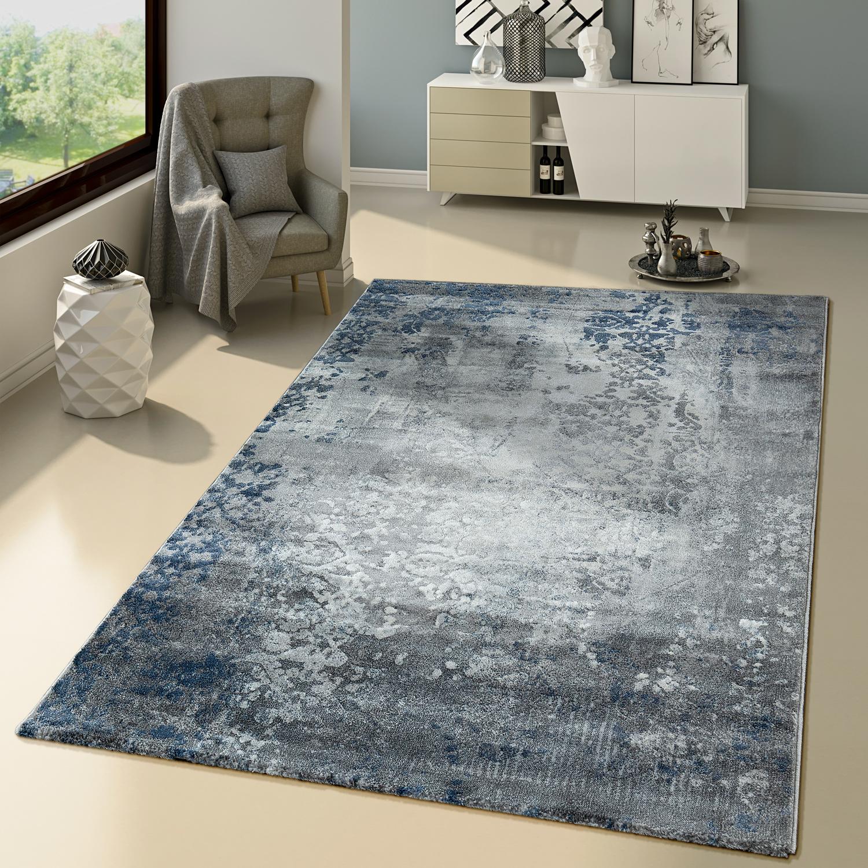 wohnzimmer teppich modernes ornamentale muster orientalisches design grau blau moderne teppiche. Black Bedroom Furniture Sets. Home Design Ideas