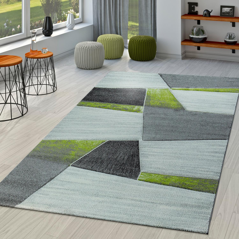 moderner kurzflor teppich geometrisches design konturenschnitt in grau gr n moderne teppiche. Black Bedroom Furniture Sets. Home Design Ideas