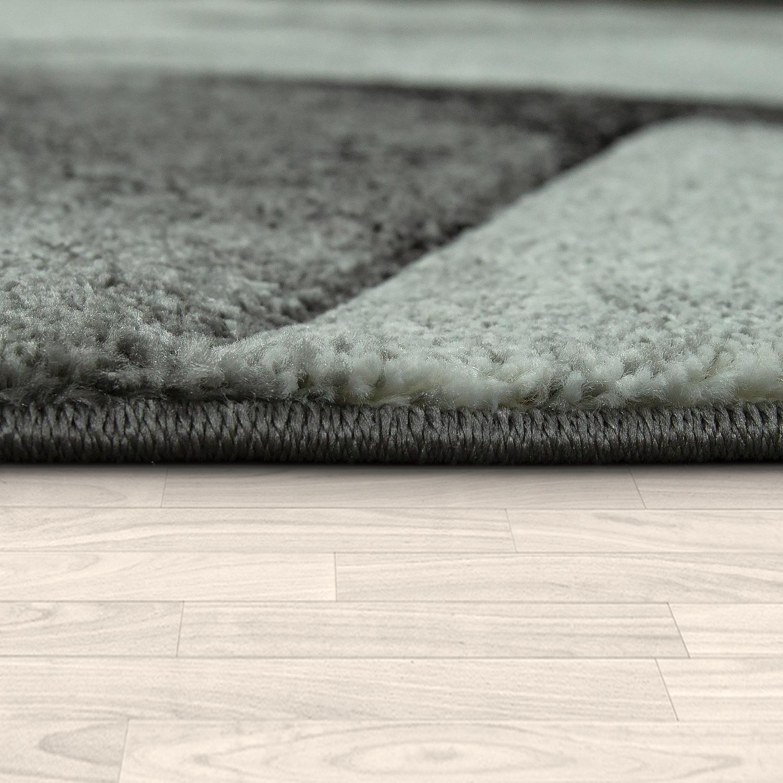 Designer Tapis Kurzflor triangle motif marbre aspect chiné noir gris bleu