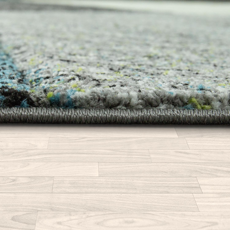 Moderner Wohnzimmer Teppich Kurzflor Hakel Optik Geometrische Muster