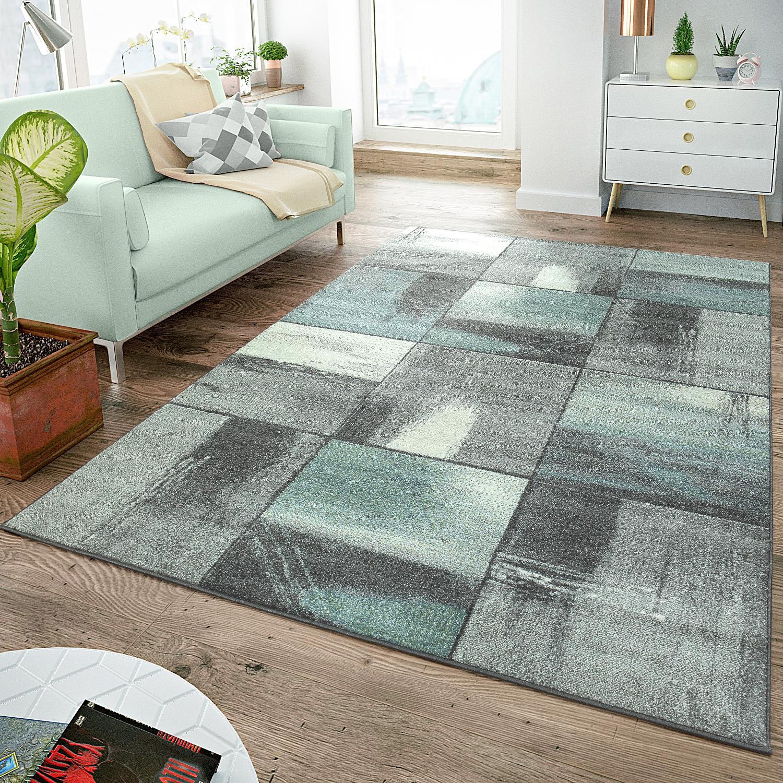moderner kurzflor teppich pastellfarben karo muster gem lde optik grau t rkis moderne teppiche. Black Bedroom Furniture Sets. Home Design Ideas