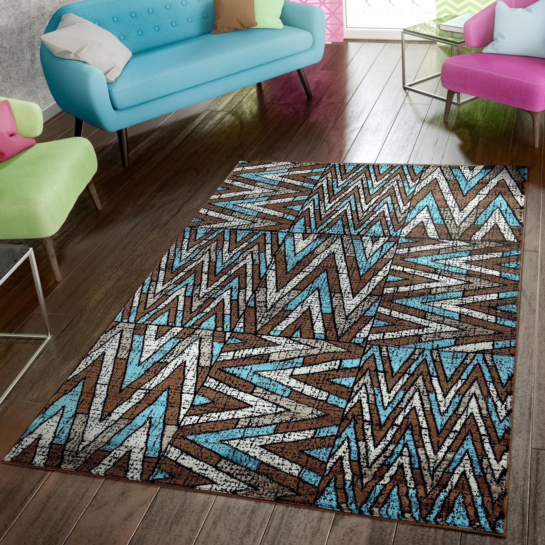 Wohnzimmer Teppich Modern Preiswert Kariert Zick Zack Design Blau