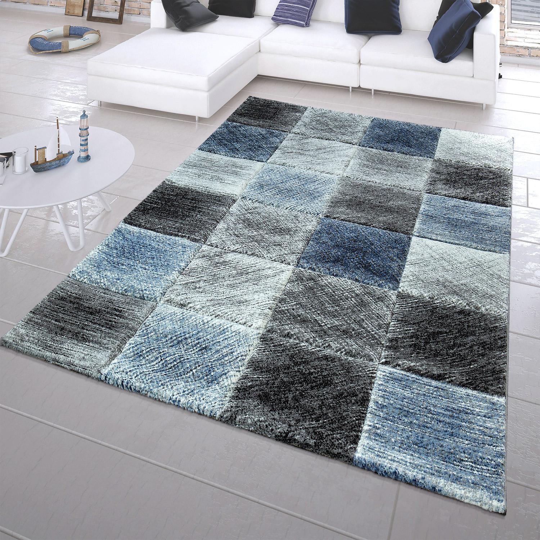 moderner kurzflor teppich maritim look karo muster trenddesign in blau moderne teppiche. Black Bedroom Furniture Sets. Home Design Ideas
