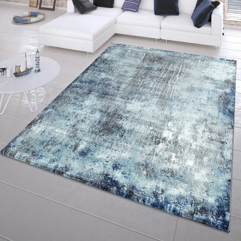 Moderner kurzflor teppich abstrakt gem lde look maritim - Teppich maritim ...