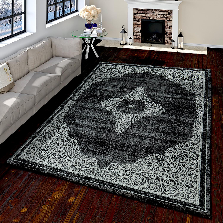 Orientteppich Moderner Barock Muster Mit 3D Optik Used Look Meliert Schwarz Grau