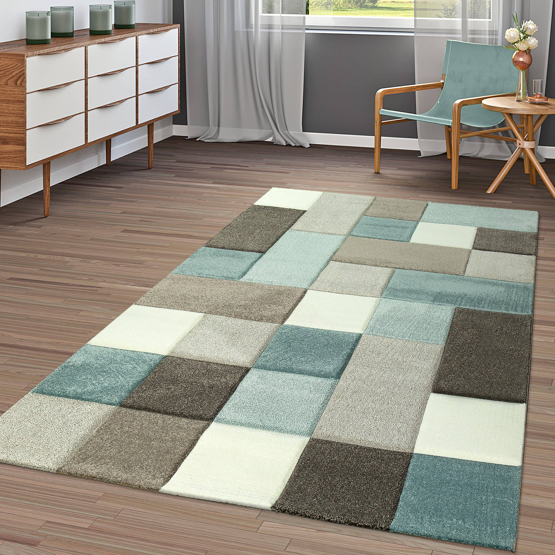 Moderner Kurzflor Teppich Wohnzimmer Konturenschnitt Kariert Pastell ...
