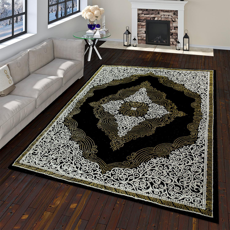 Orientteppich Moderner Barock Muster Mit 3D Optik Used Look Meliert Schwarz Gold