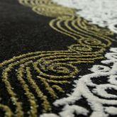 Orientteppich Moderner Barock Muster Mit 3D Optik Used Look Meliert Schwarz Gold – Bild 2