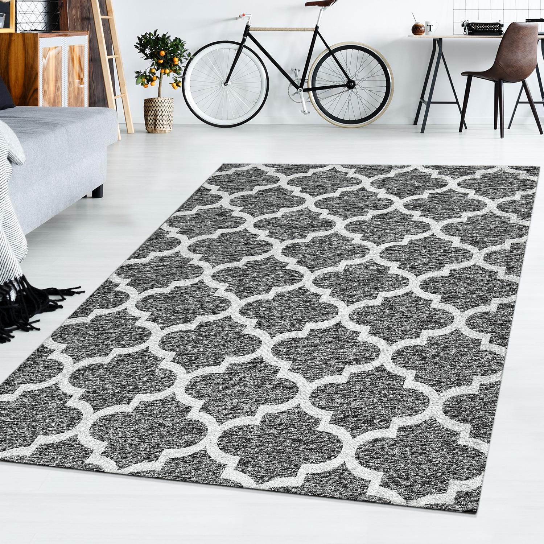 kurzflor teppich modern wohnzimmer marokko design meliert trend in grau moderne teppiche. Black Bedroom Furniture Sets. Home Design Ideas