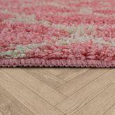 Moderne Badematte Mit Rautenmuster Trendiger Hochflor Badteppich In Pink Weiß – Bild 3