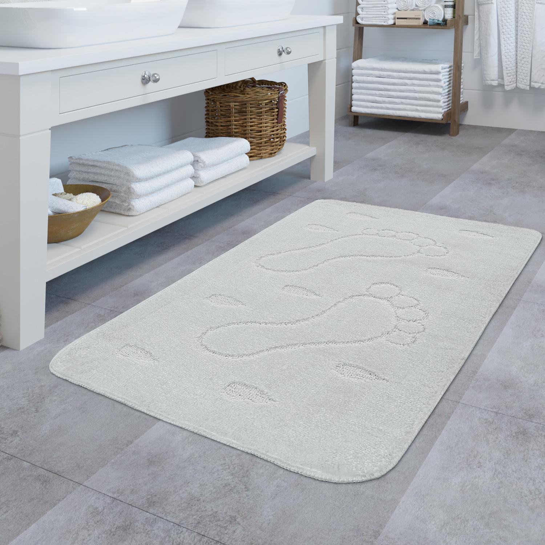 Design Badematte Rutschfester Badvorleger Badezimmer Teppich Motiv Füße In Weiß