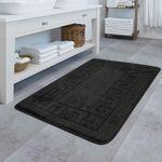 Design Badematte Rutschfester Badvorleger Badezimmer Teppich Mit Bordüre Schwarz