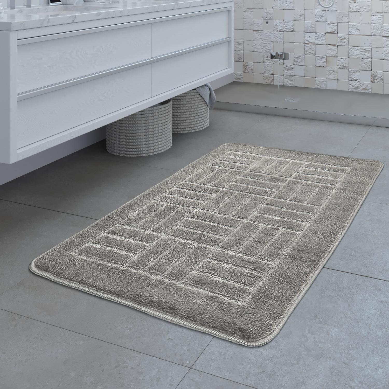 Design Badematte Rutschfester Badvorleger Badezimmer Teppich Karo Muster Grau
