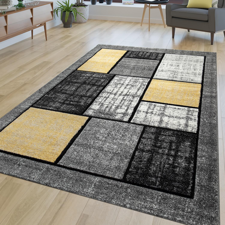 Kurzflor Wohnzimmer Teppich Gelb Grau Weiß Modernes Grafik Muster ...