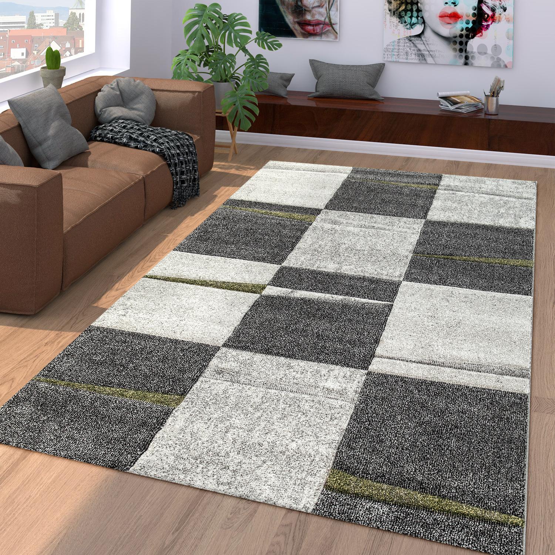 Teppich Wohnzimmer Modern Kariert Kurzflor Karo In Schwarz Grau Grun Ebay