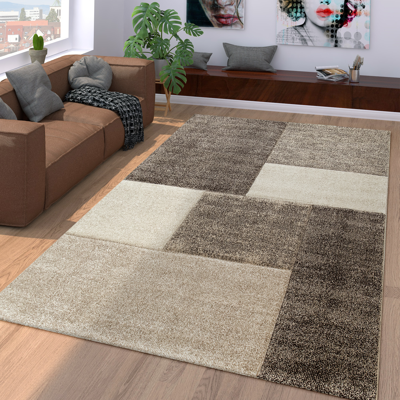 Alfombra moderna para el salón marrón y beige