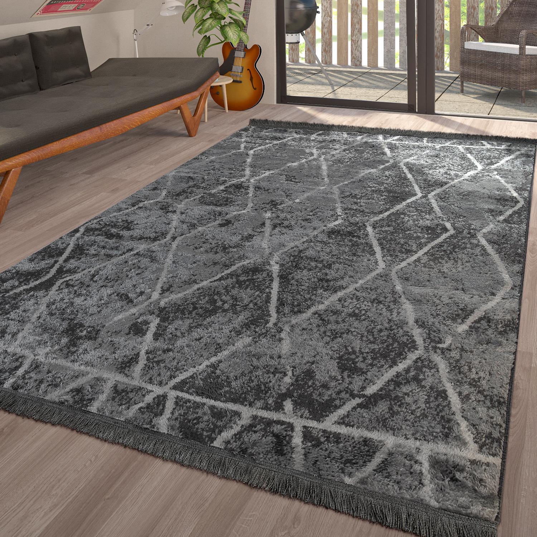 Teppich Wohnzimmer Skandinavisch Fransen Muster Karo