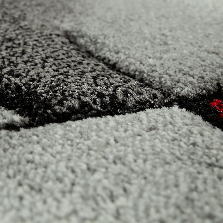 Kurzflor teppich modern wohnzimmer deko karo design for Wohnzimmer deko rot grau