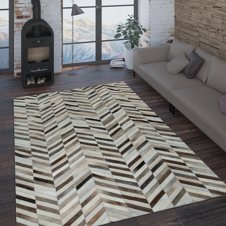 Teppich Wohnzimmer Modern Leder Wolle Muster Zickzack In Schwarz Weiß Braun