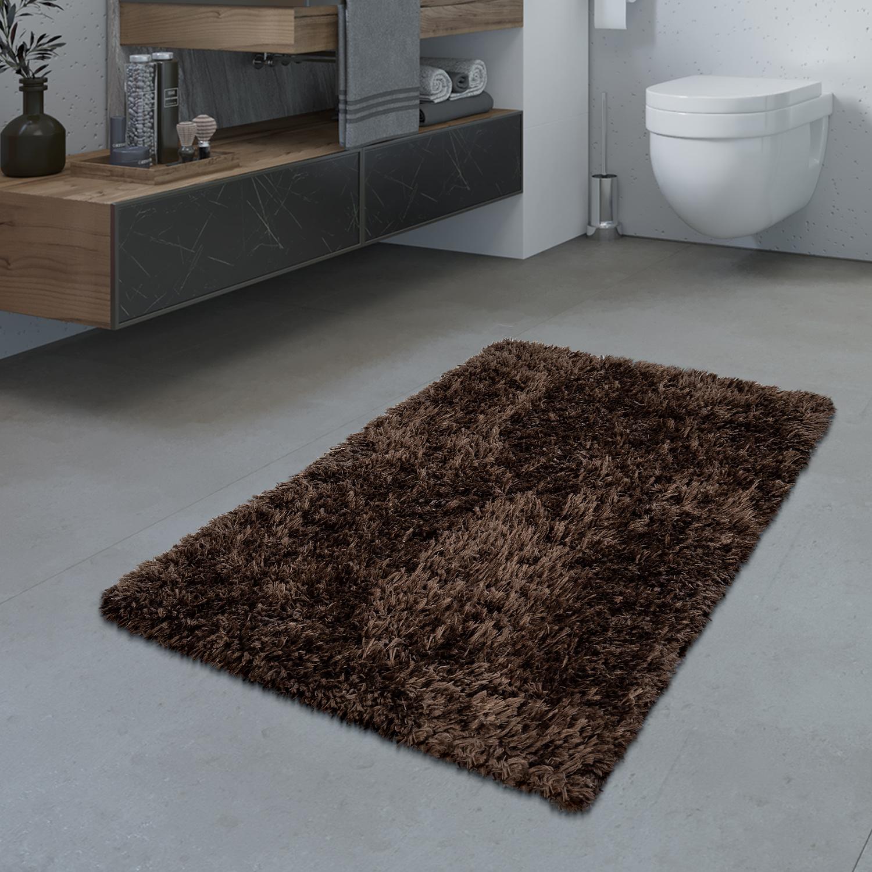 Details zu Badezimmer Teppich Hochflor Badematte Modern Kuschelig Weich Uni  Braun