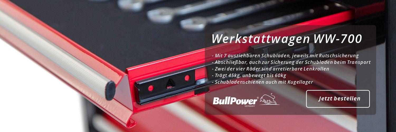 BullPower WW-700 Werkstattwagen - 7 Schubladen Werkzeugwagen Rollwagen Werkzeugkiste kugelgelagert