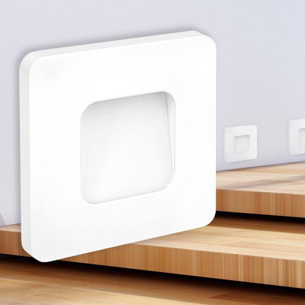 LED-Wandeinbauleuchte DEVA AC, weiß, 1W 230V, IP20, Lichtfarbe warm weiß – Bild 1