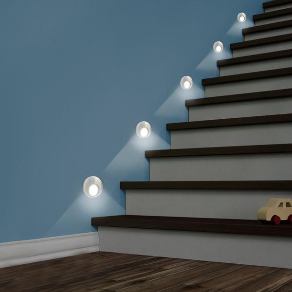 LED Wand-Einbauleuchte KAMA in Edelstahl, Graphit oder Weiß Treppenleuchte rund, 1W, 230V warmweiß – Bild 3