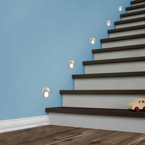 LED Wand-Einbauleuchte KAMA in Edelstahl, Graphit oder Weiß Treppenleuchte rund, 1W, 230V warmweiß – Bild 2