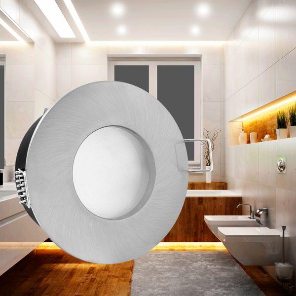 RW-1 Feuchtraum LED-Einbaustrahler Bad Einbauleuchte Edelstahl gebürstet IP65 3,5W SMD LED warmweiß, GU10 230V wie 35W – Bild 2