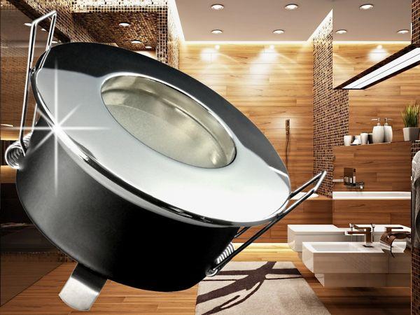 RW-1 Feuchtraum LED-Einbaustrahler Bad Dusche chrom, IP65, 6W COB LED warm weiß, GU10 230V innen + außen – Bild 3