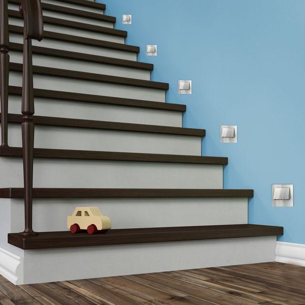 LED-Wandeinbaustrahler NARVA Edelstahl, Graphit oder Weiß Treppenleuchte quadratisch, für 60mm Unterputzdosen, CREE LEDs 1W, 230V IP20 warm weiß – Bild 2