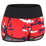 Workout shorts for women digital-camo red/blue