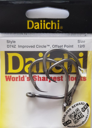 Daiichi D74Z Improved Circle Naturköderhaken, Reversed, Black Nickel Finish