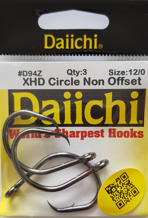 Daiichi D94Z XHD Non Offset Circle Naturköderhaken, Black Nickel Finish