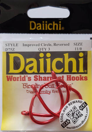 Daiichi D75Z Improved Circle Naturköderhaken, Reversed, Bleeding Bait Red Finish