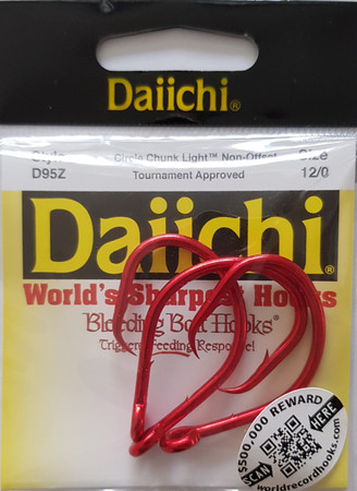 Daiichi D95Z XHD Non Offset Circle Naturköderhaken, Bleeding Bait Red Finish