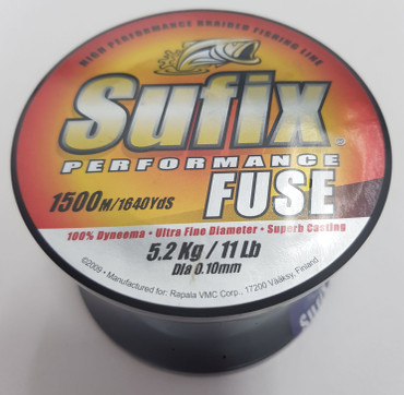 Sufix Performance Fuse, Braided Line, 1500 m, 0.10 mm, 5.2 kg, Orange