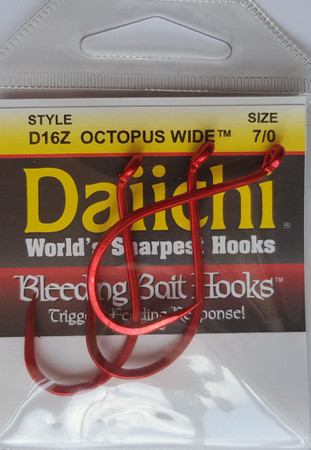 Daiichi D16Z Octopus Wide Naturköderhaken, Bleeding Bait Red Finish – Bild 1