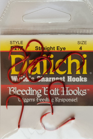 Daiichi D27Z DropShot'n Straight Eye Haken, Bleeding Bait Red Finish